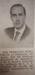 Francisco Pérez -Yarza y Llona.  Nota de prensa, año de 1955